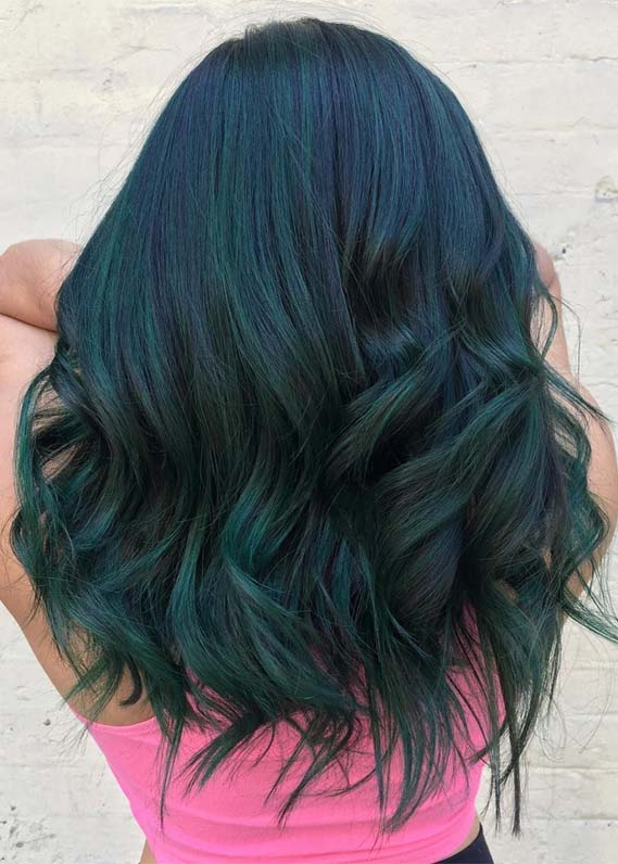 Gorgeous Deep Green Hair Color Shades for 2019