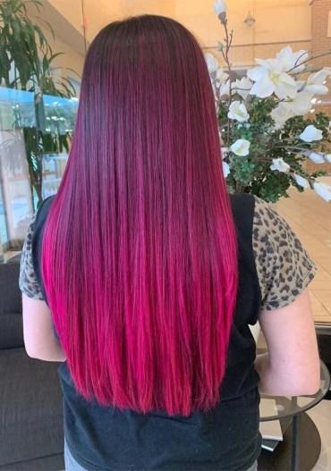 Sleek Straight Pink Hairstyles for Women 2019
