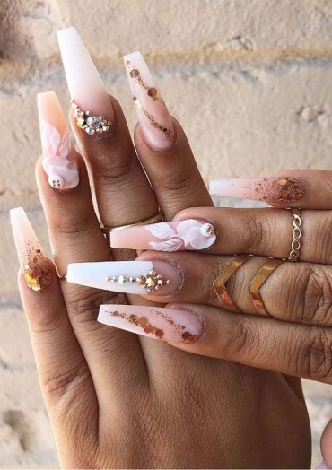 Elegant Long Nail Art Designs with Pearls for 2019