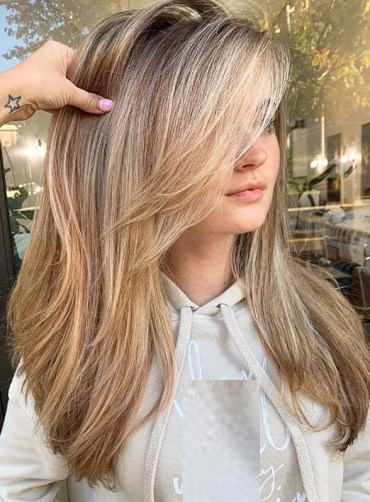Long Balayage Hairstyles with Bangs for Women 2019