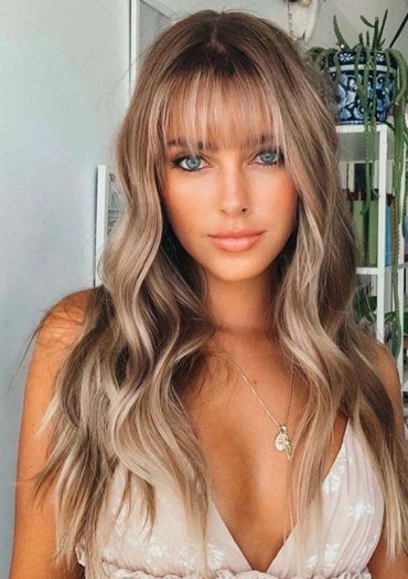 Long Balayaged Hairstyles with Bangs for Women in 2020