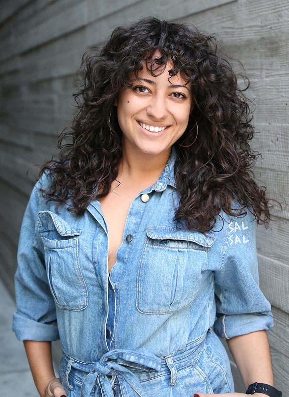 Modern Curly Hair Styles with Bangs