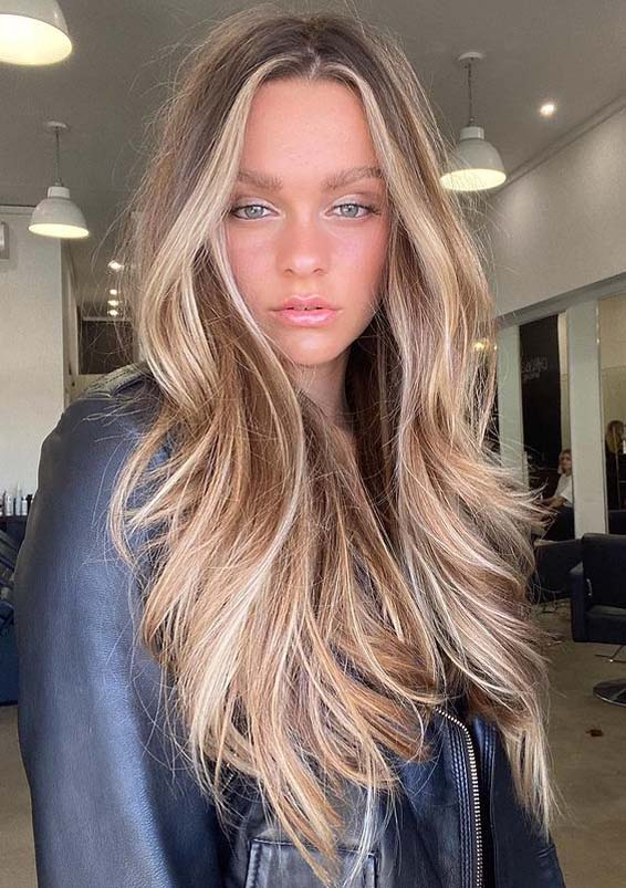 Face Framing Long Hairstyles with Balayage Shades