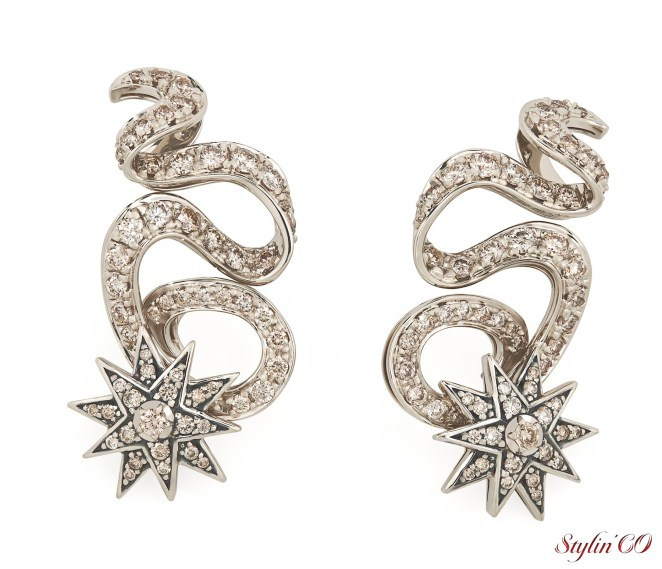 Hydra inspired earrings in Noble Gold with cognac diamonds