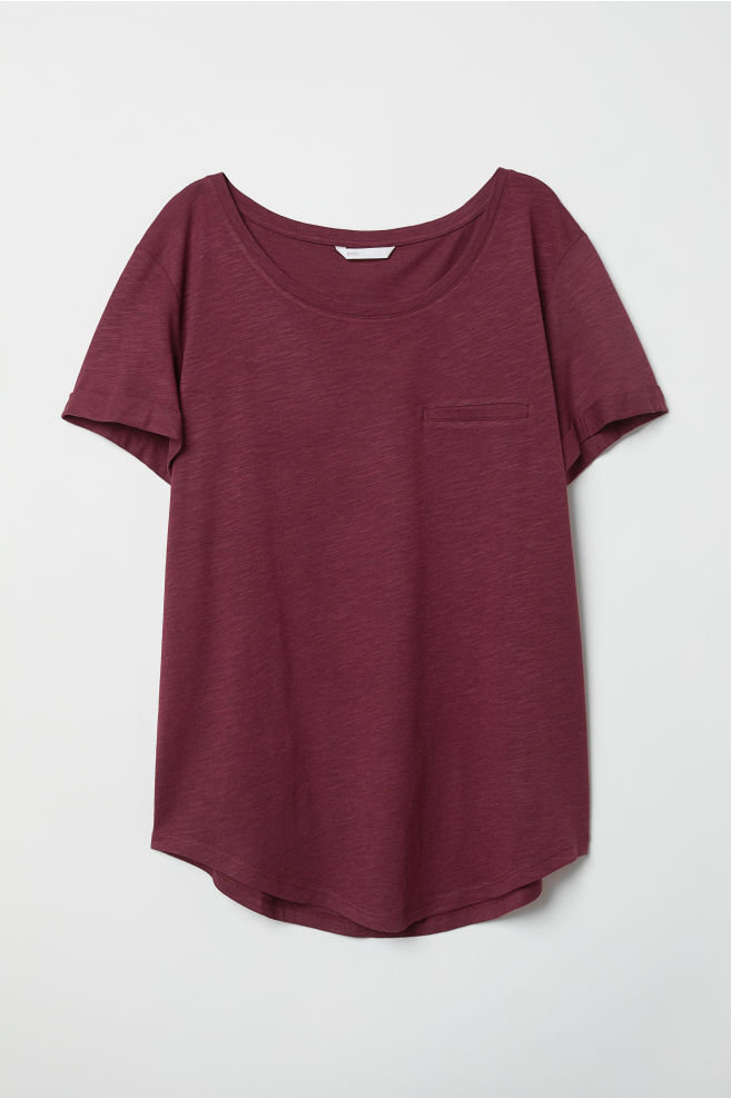 H&M Slub Jersey T-Shirt – Burgandy