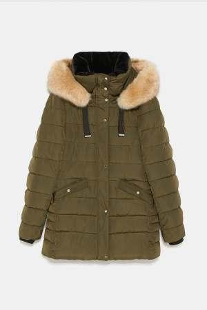 Zara Quilted Parker Coat