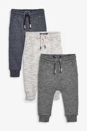 Next Grey/Khaki 3 Pack Textured Joggers