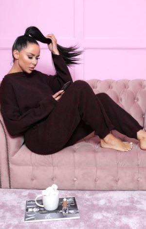 Wine Knitted Crop Top Loungewear Set – Lelia