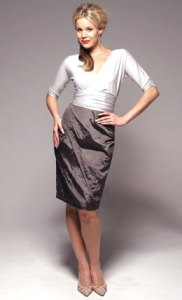 """Sacha Drake Isla dress ($298).  """"My cummerbund ties and pencil skirt makes you look longer and leaner.  My wrap feature enhances your curves."""""""
