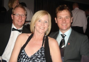 Mark Wilson, right, with Nikki Parkinson and Kester Hubbard at the Hear and Say Centre\'s Dancing with the Local Stars ball