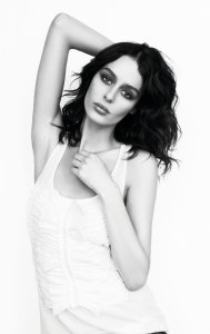 Nicole Trunfio wearing the classic tank, with silk voile pleat front ($89.95)