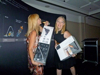 My partner in Dyson Dancing Crime, Clairey Hewitt.  Note my multi-tasking with the wine glass and the Dyson.  Impressive?