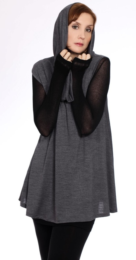 Model and makeup artist Pru Edwards in the Verily Howl Tunic $140