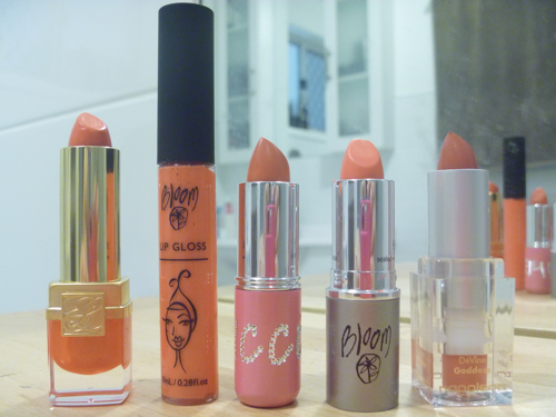My coral coloured lipstick wardrobe.  Which one shall I choose today?