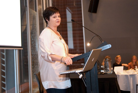 Jacki James - strategic planner at Zuni - delivers her presentation at the Beauty Directory's Digital Seminar in Sydney this week.  Photo: Beauty Directory