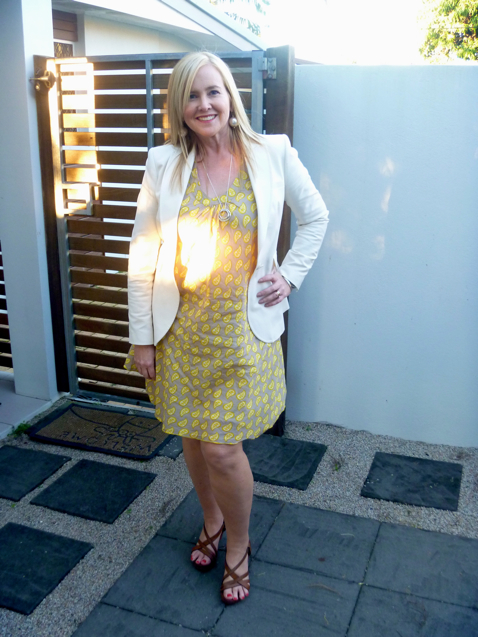 Boom Shankar Topsy dress in yellow $59; with Country Road jacket and platform shoes; Sophie Kyron earrings
