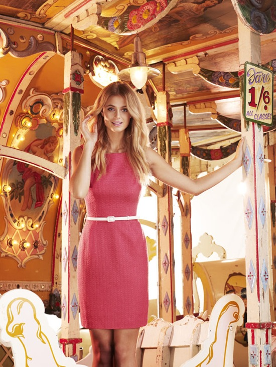 Ignoring the fairground backdrop, this Review dress ($259.95) is perfect for a petite figure. Add a white jacket and nude shoes.