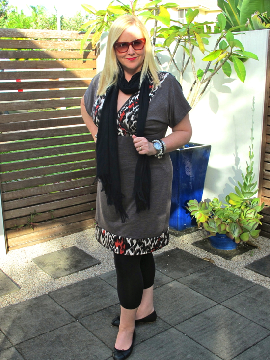 Verily In Pieces tunic | Country Road leggings, scarf and ballet flats | Cheap Monday sunglasses