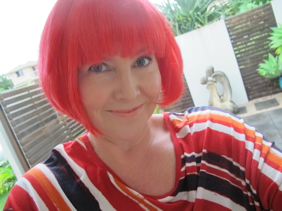 Phewww ... the day is almost over. Time to party at a friends' birthday bash where guests were asked to wear a wig. What do you think?