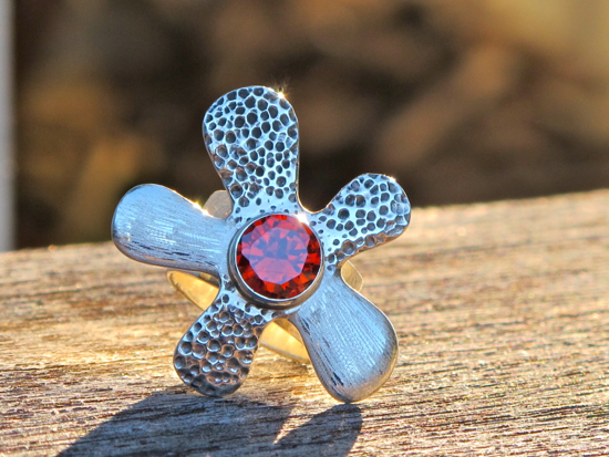 Renee Blackwell Design Flower Power ring $235 (Siam red cubic zirconia set in sterling silver)