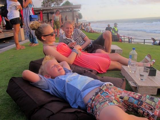 We ordered and drank bottled water everywhere: here at Ku De Ta, Seminyak, Bali