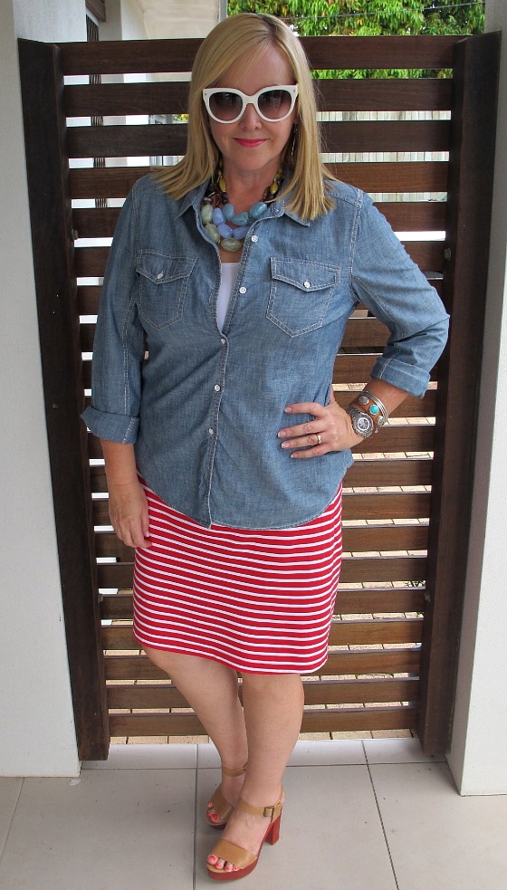 The Model and Me: Ollie & Max red striped skirt