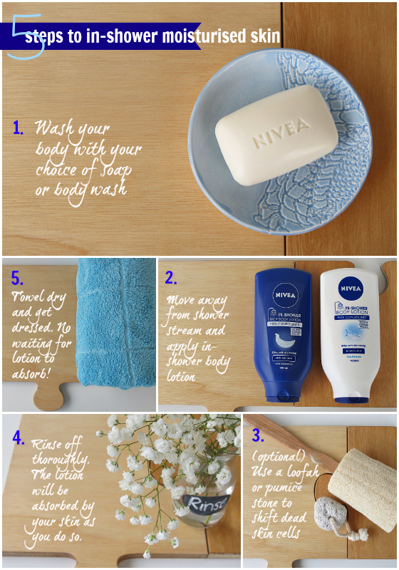 5 steps to moisturising your skin while having a shower  Nivea In-Shower Body Lotion