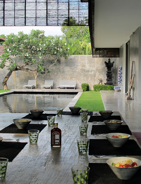 Breakfast is served at Villa H2O Bali, Seminyak