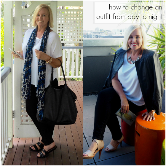 How do you change a day outfit into a night outfit?