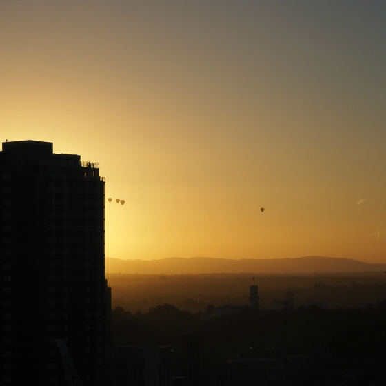 Sunrise from the Crown Metropol Melbourne | Hot air balloon