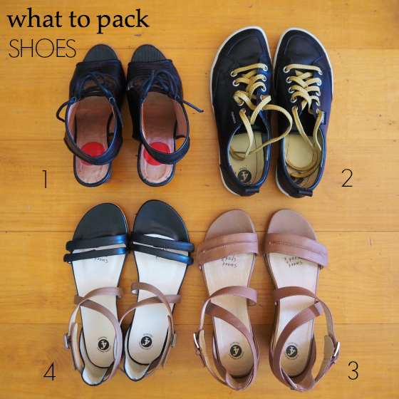 what to pack shoes - European summer holiday