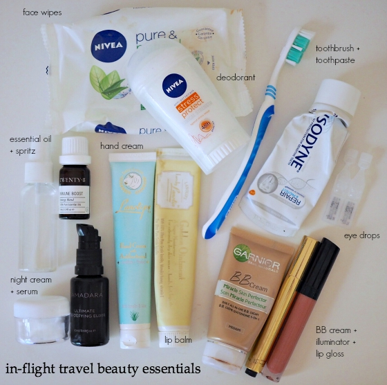 In-flight travel beauty essentials