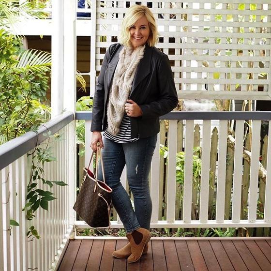 Blue Illusion jacket | Lou Lou Design poncho worn as scarf | NYDJ jeans | Frankie4 Footwear jeans | Bassike tee | Frankie4 Footwear boots | LV bag
