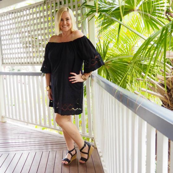 Blue Bungalow dress | FRANKiE4 wedges | Secrets Shhh bangle