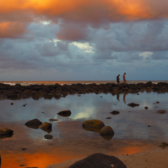 Burleigh Heads rock pools at sunset