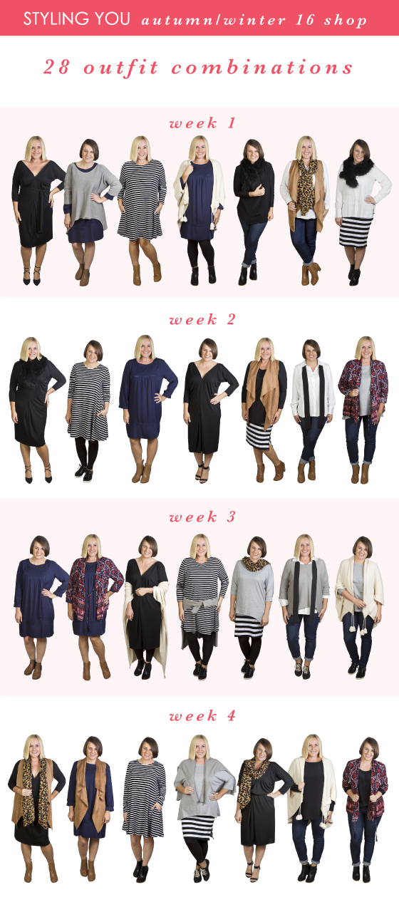15-piece autumn-winter capsule wardrobe - worn 28 different ways - Styling You Shop