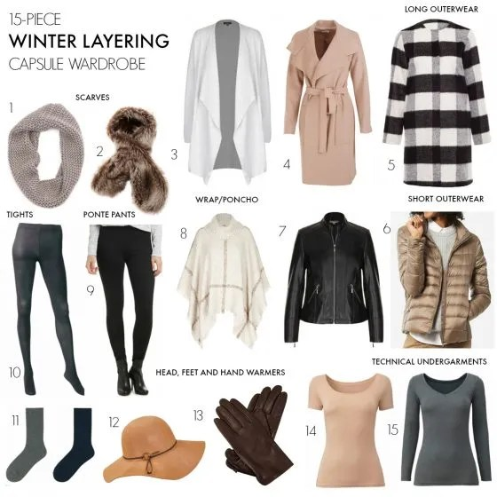 15-piece winter layering capsule wardrobe