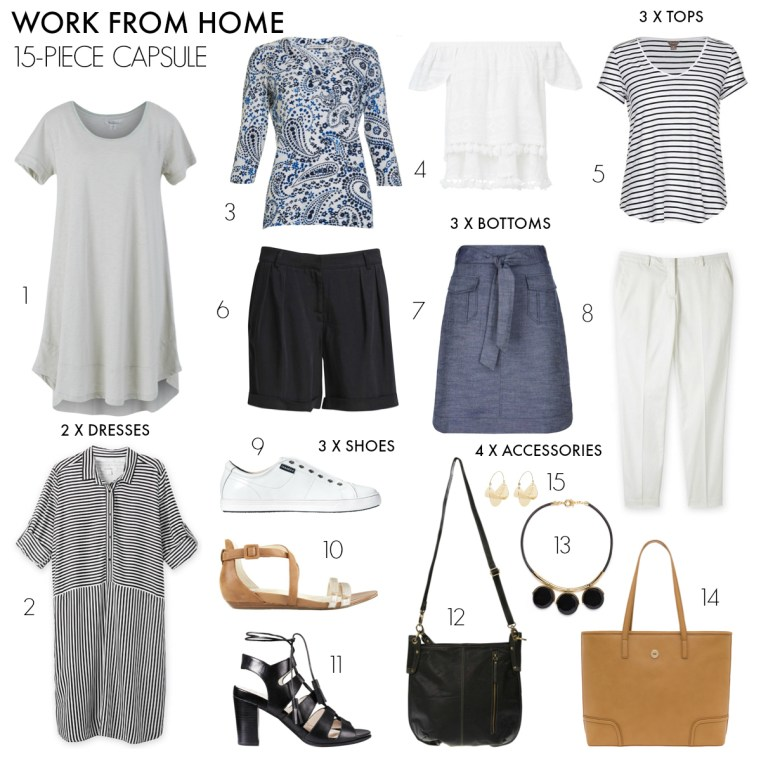 15-piece work from home summer capsule wardrobe