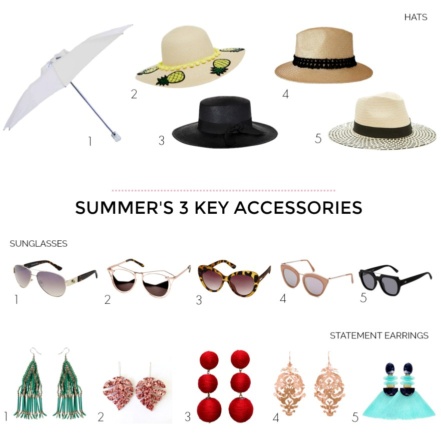 The three key summer accessories you need in your wardrobe: hats; sunglasses and statement earrings   Styling You