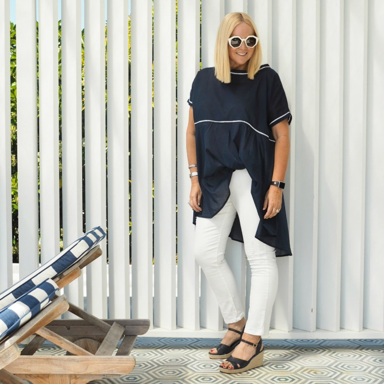 Kennedy Boutique top | Motto jeans (not current) | FRANKiE4 Footwear ALYCE wedges in navy