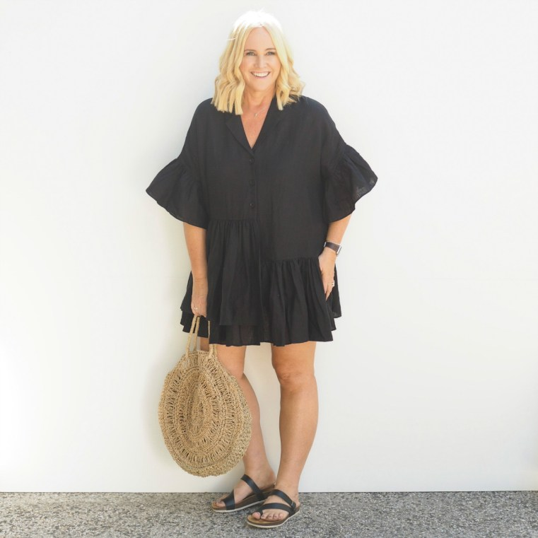 Bohemian Traders Genoa dress | FRANKiE4 Footwear SHELLY slides | bag bought in Bali