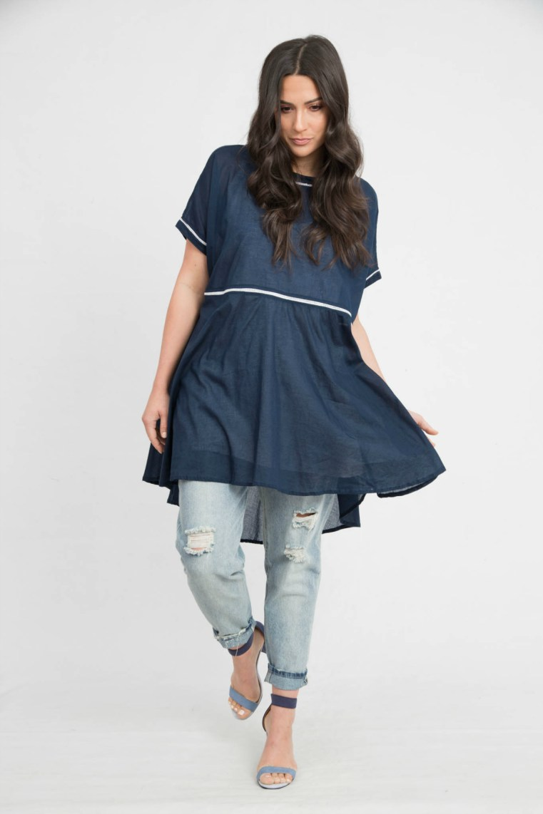 Kennedy Boutique Amalfi top in Royal navy
