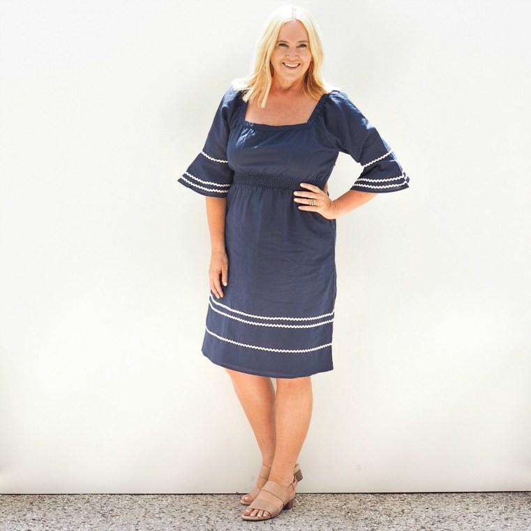 Ella and Sunday dress | FRANKiE4 Footwear KYRA heels in wheat