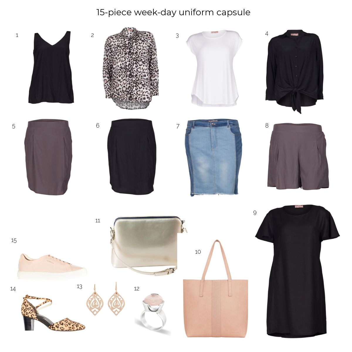 15-piece week-day uniform capsule
