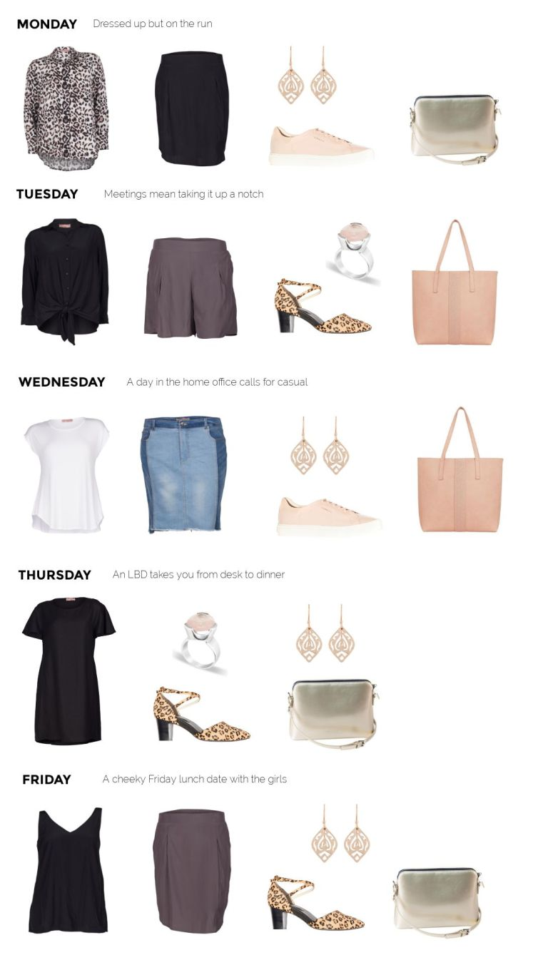 15-piece week-day uniform capsule - 5 days of outfits