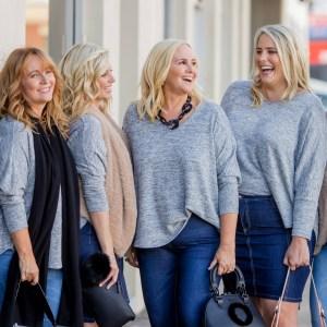 Jenny grey marle swing knit, Nicoll black cashmere wrap, Jill latte faux fur gilet, Raelene denim jeans, Johanne denim skirt - Karen, Brooke, Nikki, Jess