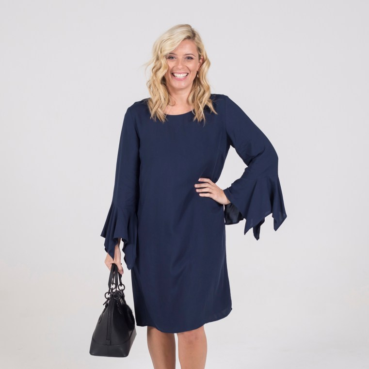 Styling You The Label Janet bell sleeve dress in navy