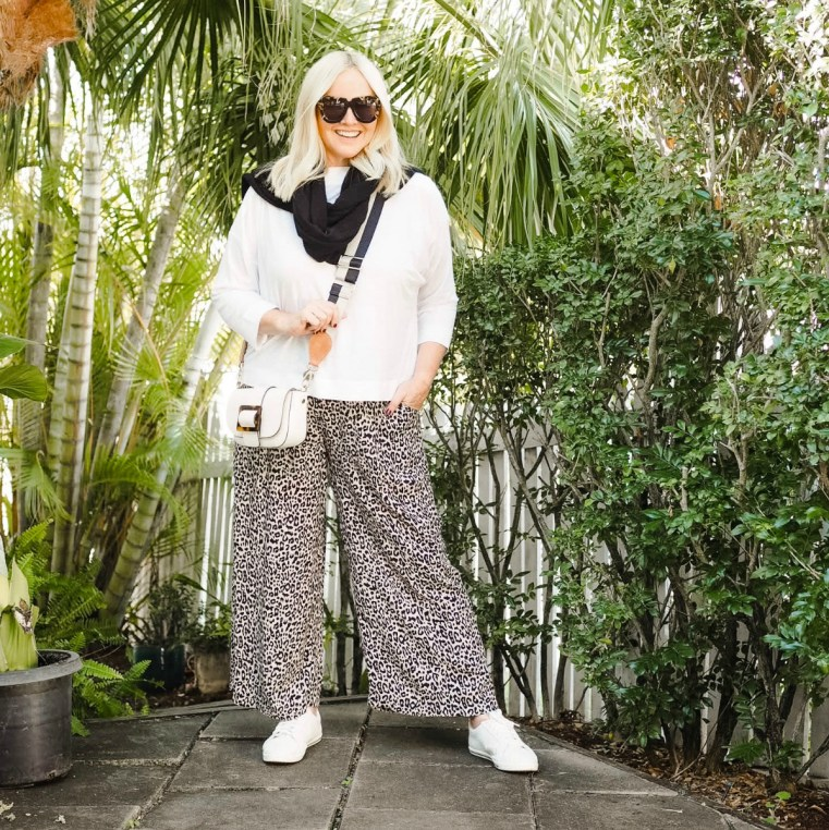 Bowerbird collections top and pants | Styling You The Label cashmere scarf/wrap | BabyMac shop guitar strap on old Seed bag | FRANKiE4 Footwear LUCY sneakers