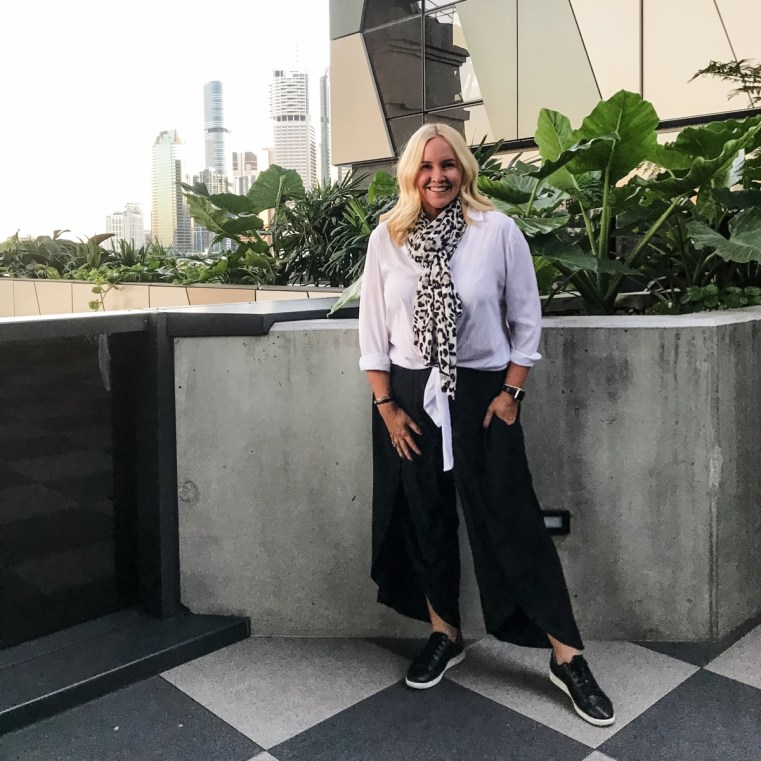 Styling You The Label Cate shirt and Maria Pants | FRANKiE4 Footwear JACKiE sneaker in black Fantauzzo Hotel, Howard Smith Wharves, Brisbane