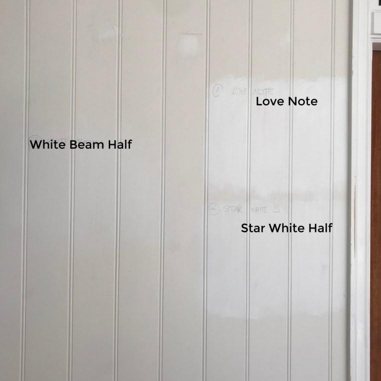 British Paints white paint samples White Beam Half Love Note Star White Half